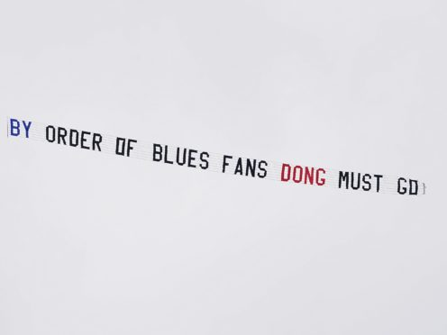 A Birmingham fans' protest banner was flown over Vicarage Road during their club's defeat to Watford in March (Tess Derry/PA)