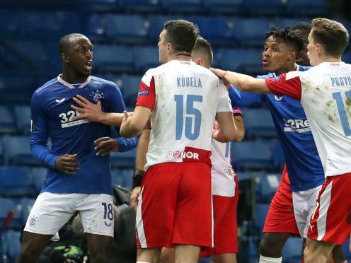 Rangers' Glen Kamara (left) was allegedly racially abused by Slavia Prague's Ondrej Kudela (Andrew Milligan/PA)