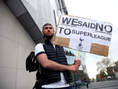 Tottenham fans stage a protest outside of their club's stadium (Adam Davy/PA)