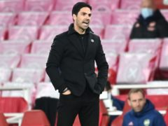 Mikel Arteta has been tasked with turning around a first-leg deficit if Arsenal are to reach the Europa League final (Michael Regan/PA)