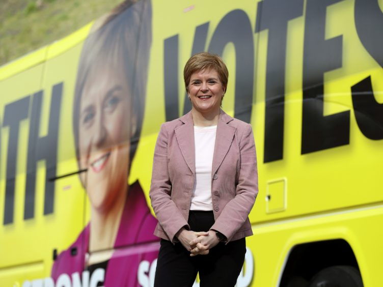 Nicola Sturgeon thanked the public for their efforts over the last year during the pandemic (Russell Cheyne/PA)