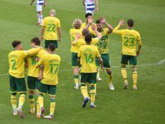 Kieran Dowell celebrates scoring Norwich's second goal against Reading (Joe Giddens/PA)