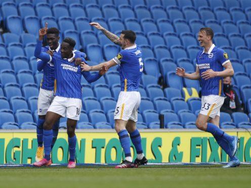 Brighton celebrate Danny Welbeck's goal (John Sibley/PA)