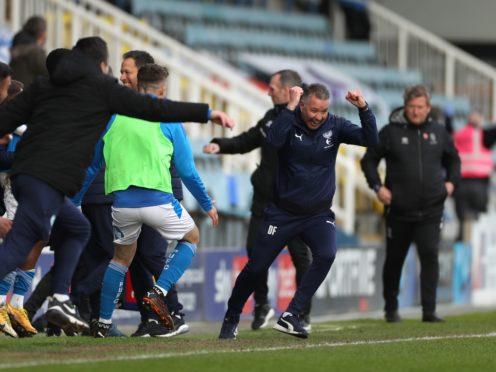 Darren Ferguson celebrates promotion (Bradley Collyer/PA)