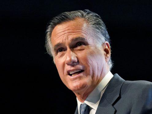Mitt Romney addresses the Utah Republican Party 2021 Organising Convention (Rick Bowmer/AP)