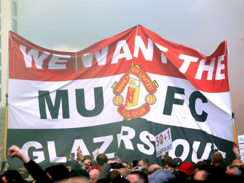 Manchester United fans protest against the club's owners, the Glazer family (Barrington Coombs/PA).