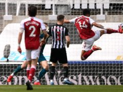 Arsenal's Pierre-Emerick Aubameyang (right) scored their second (Stu Forster/PA)