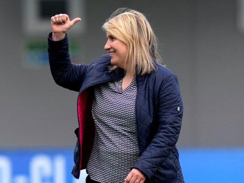 Chelsea manager Emma Hayes celebrates reaching the Women's Champions League final (John Walton/PA)