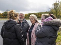 (L to R) Lisa Dorrian's sister Michelle, father John, sister Joanne, and sister Ciara at The Clay Pits in Ballyhalbert (Liam McBurney/PA)