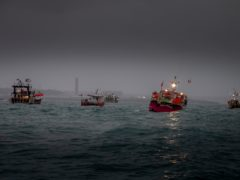 French fishing vessels outside the harbour at St Helier (Gary Grimshaw/Bailiwick Express/PA)