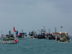 French fishing vessels stage a protest outside the harbour at St Helier (Gary Grimshaw/Bailiwick Express/PA)