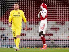 Nicolas Pepe reacts during Arsenal's clash with Villarreal (John Walton/PA)