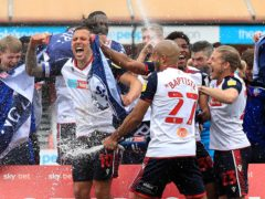 Bolton Wanderers celebrate sealing promotion to League One (Gareth Fuller/PA)