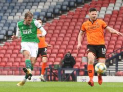 Hibernian's Christian Doidge netted a debated goal to sink Dundee United at Hampden (Jeff Holmes/PA)
