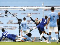 Chelsea's Marcos Alonso (centre) scores the winner (PA)