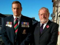 David Mossop with his father Colin (Help for Heroes/PA)