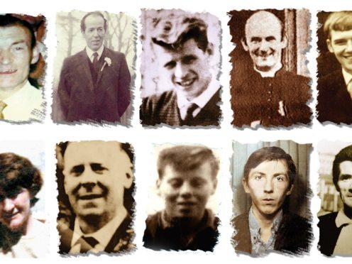 Joseph Corr, Danny Taggart, Eddie Doherty, Father Hugh Mullan, Frank Quinn (left to right, bottom row) Joan Connolly, John McKerr, Noel Philips, John Laverty and Joseph Murphy were all gunshot victims of the Ballymurphy massacre in west Belfast in 1971 (Ballymurphy Massacre Committee/PA)
