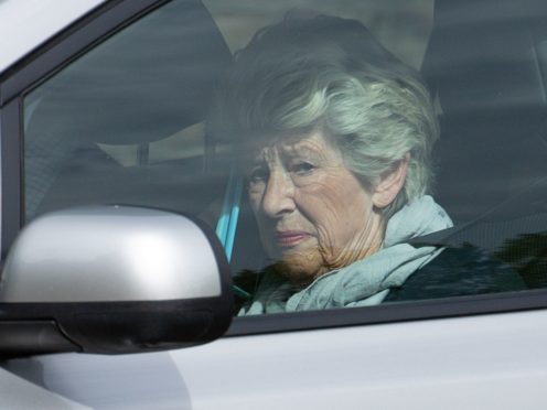 Lady Lavinia Nourse arrives at Peterborough Cathedral Visitor And Learning Centre, where she is charged with 17 counts of historical sexual abuse (Jacob King/ PA)
