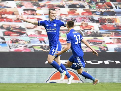 Caglar Soyuncu, left, and Luke Thomas go the goals for Leicester (Peter Powell/PA)
