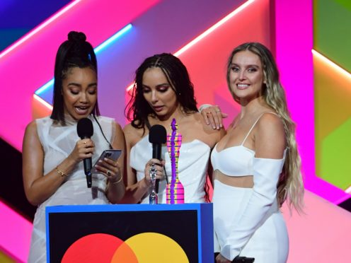 Little Mix accept the award for Best British Group during the Brit Awards 2021 at the O2 Arena (Ian West/PA)