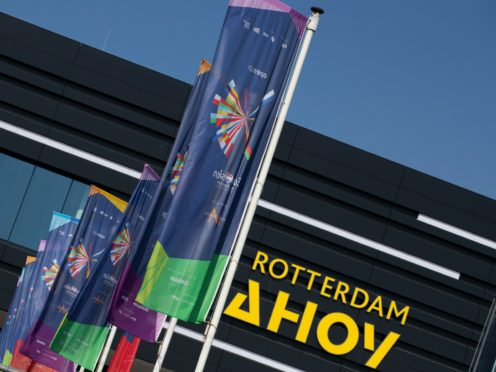 Flags fly outside the venue during rehearsals at the Eurovision Song Contest at Ahoy arena in Rotterdam, Netherlands (Peter Dejong/AP)