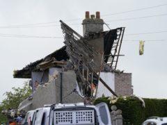 The scene of a suspected gas explosion in Heysham (Danny Lawson/PA)