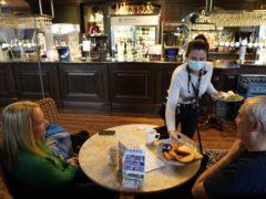Customers inside the Mile Castle pub in Newcastle (Owen Humphreys/PA)