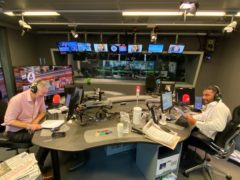 Amol Rajan making his debut on the Radio 4 current affairs programme, Today, with fellow presenter Justin Webb (Radio 4 handout)