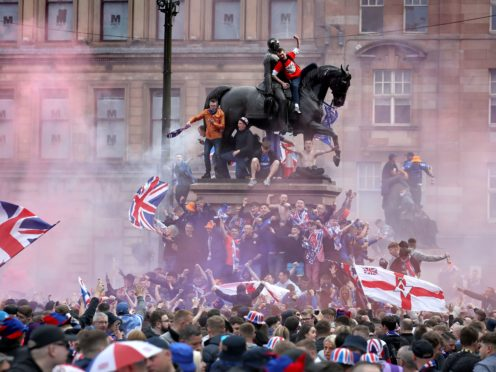 Thousands of fans gathered in the square (Andrew Milligan/PA)