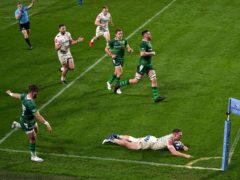Sam Simmonds scores his hat-trick try against London Irish (Adam Davy/PA)