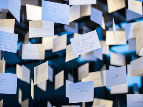 Some of the wishes written by people from across Scotland which form part of the exhibition (Jane Barlow/PA)