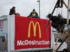 Animal Rebellion protesters outside a McDonalds distribution site in Basingstoke, Hampshire (Animal Rebellion/PA)