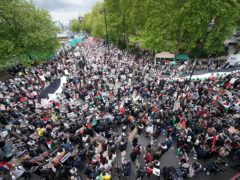 Protesters in central London march in solidarity with the people of Palestine (Yui Mok/PA)