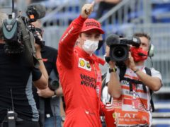 Charles Leclerc claimed pole despite a heavy crash at the end of qualifying (AP Photo/Luca Bruno)