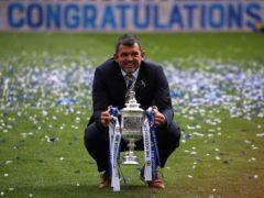 Callum Davidson celebrates with the Scottish Cup (Andrew Milligan/PA)