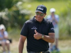 Phil Mickelson reacts on the fourth hole during the third round at the US PGA Championship (Matt York/AP)
