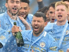 Manchester City's Sergio Aguero celebrates after the Premier League match at the Etihad Stadium, Manchester. Picture date: Sunday May 23, 2021.