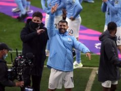 Sergio Aguero waved goodbye to Manchester City's home fans on Sunday (Carl Recine/PA)