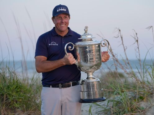 Phil Mickelson said he would 'cherish forever' his extraordinary victory in the US PGA Championship after becoming the oldest major champion in history (David J Phillip/AP)