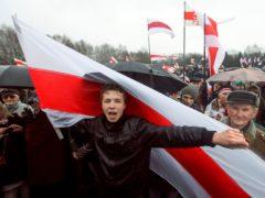 Roman Protasevich attends an opposition rally in Minsk, Belarus, in 2012 (AP)