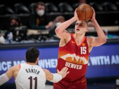 Nikola Jokic poured in 38 points as the Denver Nuggets finished 128-109 over the Portland Trail Blazers to even their first-round playoffs series at 1-1 (Joe Mahoney/AP)