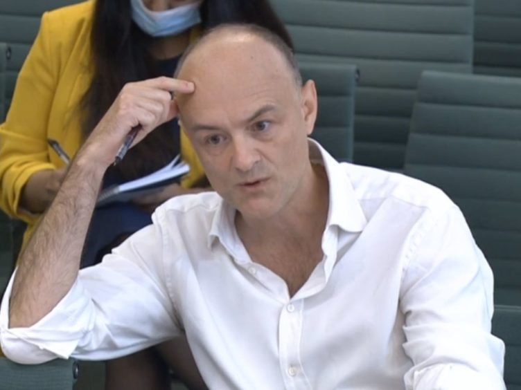 Dominic Cummings, former chief adviser to Prime Minister Boris Johnson, giving evidence to a joint inquiry of the Commons Health and Social Care and Science and Technology Committees on the subject of Coronavirus: lessons learnt (House of Commons/PA)
