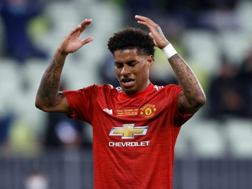 Manchester United's Marcus Rashford was racially abused after their Europa League final defeat to Villarreal (Kacper Pempel/AP)