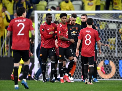 David de Gea is consoled by team-mates after missing the deciding spot-kick (Rafal Oleksiewicz/PA)