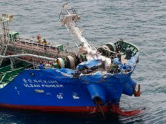 The Ulsan Pioneer after a collision on the coast of Imabari, Ehime prefecture, (Kyodo News via AP)