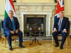 Prime Minister Boris Johnson welcomes the Prime Minister of Hungary, Viktor Orban, for talks in Downing Street (Leon Neal/PA)