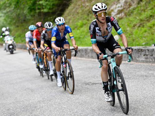 Simon Yates, right, rode clear on the final climb to win stage 19 of the Giro d'Italia (Fabio Ferrari/AP)