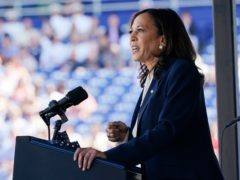 Vice President Kamala Harris speaks at the graduation and commissioning ceremony at the U.S. Naval Academy in Annapolis, Md., Friday, May 28, 2021. Harris is the first woman to give the graduation speech at the Naval Academy. (AP Photo/Susan Walsh)