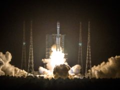 A Long March 7 rocket carrying the Tianzhou-2 spacecraft lifts off from the Wenchang Space Launch Centre in Wenchang in southern China's Hainan Province (Chinatopix via AP)