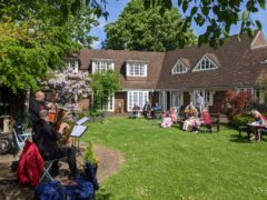 Albert's Band perform to residents in the garden at Compton Lodge care home in Swiss Cottage, north-west London (Compton Lodge/Central & Cecil/PA)